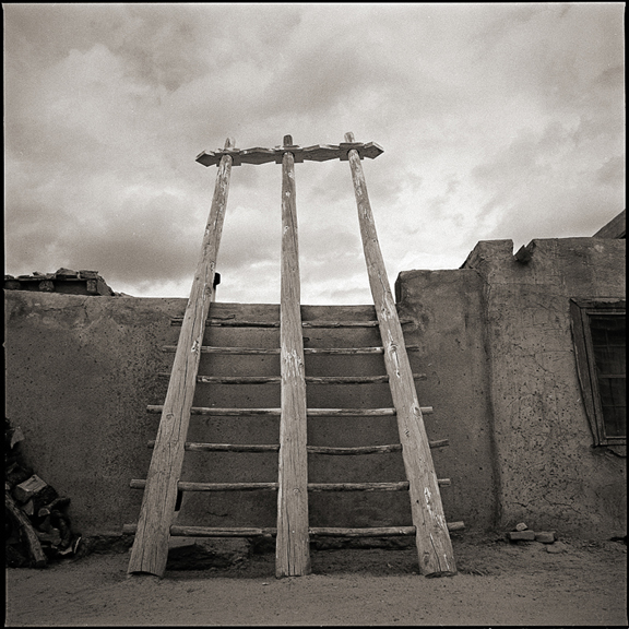 Kiva Ladder at Acoma Pueblo - Black and White Photographs